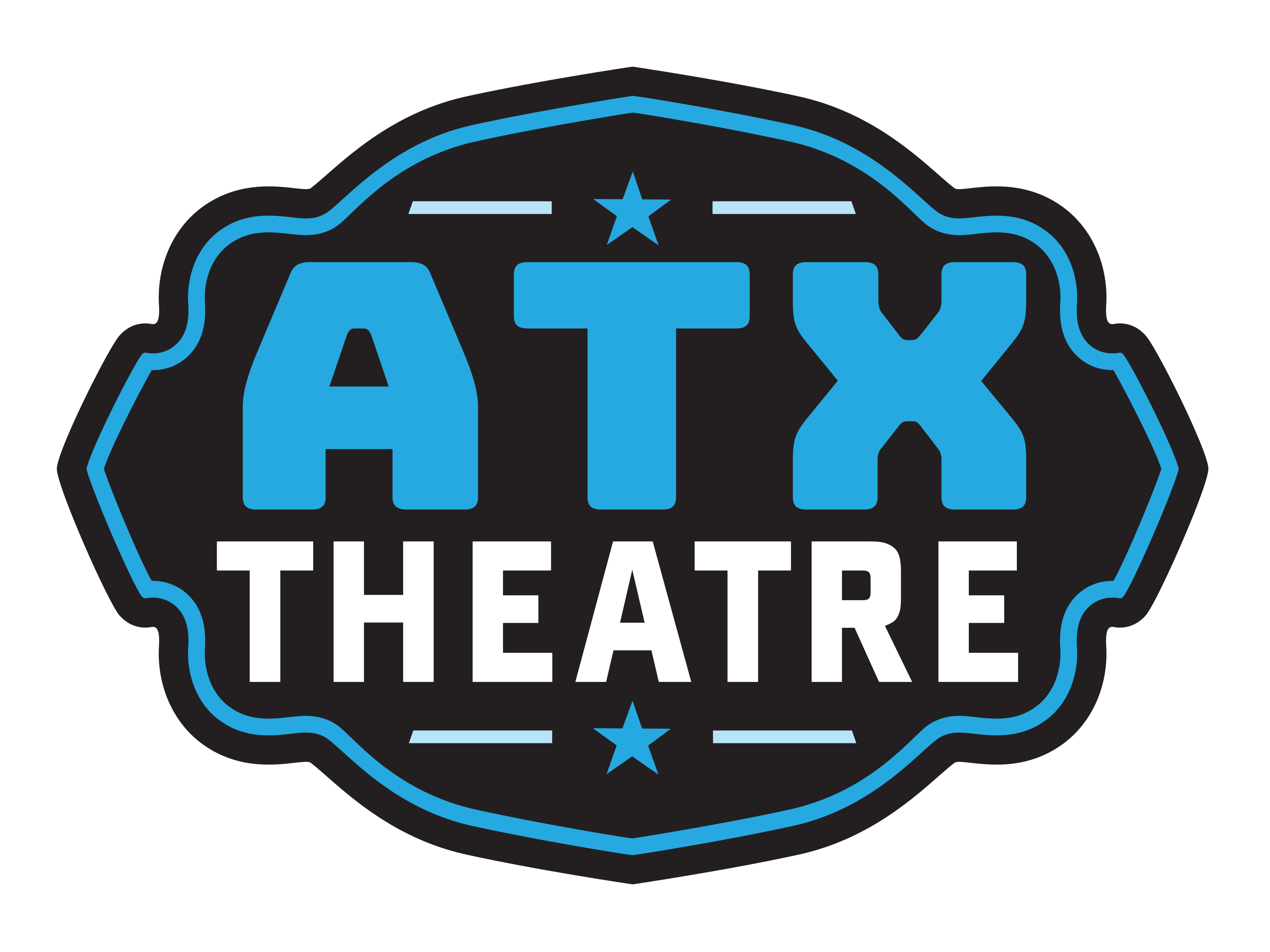 Logo. An artsy belt buckle shaped logo that has a black background and a teal trim. Inside the logo has the text ATX Theatre. The ATX is large and teal. Theatre is smaller and white. Above and below the text is a teal star that has a single light blue line on its right and left.