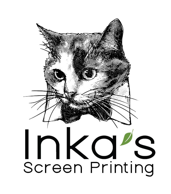 A cat in a bowtie above the text Inka's Screen Printing