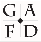 Square Black and white logo. A diamond in the middle with a intersecting lines splitting the square into 4 parts. Each section has a letter. Top Left: G, Top Right: A, Bottom Left: F, Bottom Right D.